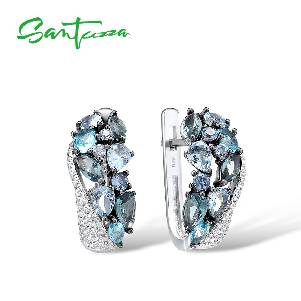 SANTUZZA Silver Earrings For Women Pure 925 Sterling Silver Shimmering Blue Stone Cubic Zirconia Glamorous серьги Fine Jewelry