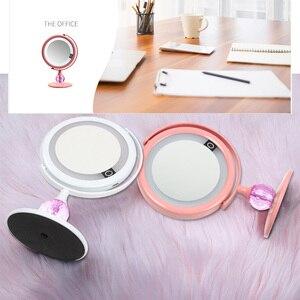 Image 3 - LED specchio specchio per Il Trucco Dello Specchio di Tocco Dello Schermo Dello Specchio di Lusso Con 3 luminosità HA CONDOTTO Le Luci Da Tavolo Regolabile A 180 Gradi Make Up Specchio