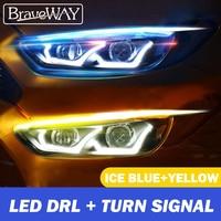 BraveWAY-Luz LED DRL blanca/azul, señal de giro amarilla, tubo Flexible y suave, Guía para tira de coche, impermeable, T10, LED W5W, P21W accesorios coche luces led