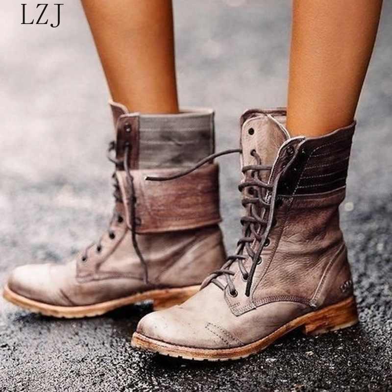 Kadın orta buzağı çizmeler düşük topuklu Shoes Vintage PU deri gladyatör Lace Up martin ayakkabı kadın Zapatos Mujer Sapato botas 35-43