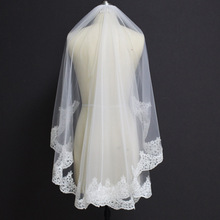 New Short Lace Wedding Veil with Comb 1 Meter Elegant Bridal White Ivory One Layer Partial