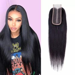 Beaudiva 2x4 Straight Lace Closure Pre Plucked With Baby Hair Brazilian Remy Hair Swiss Lace Closure In Stock Bleached Knots