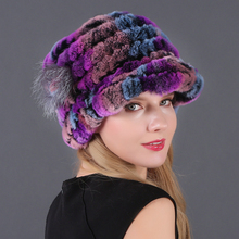 Factory Direct Hot Sale Caps For Women Real Rex Rabbit Fur Hats Genuine Knitted Beanies Skullies