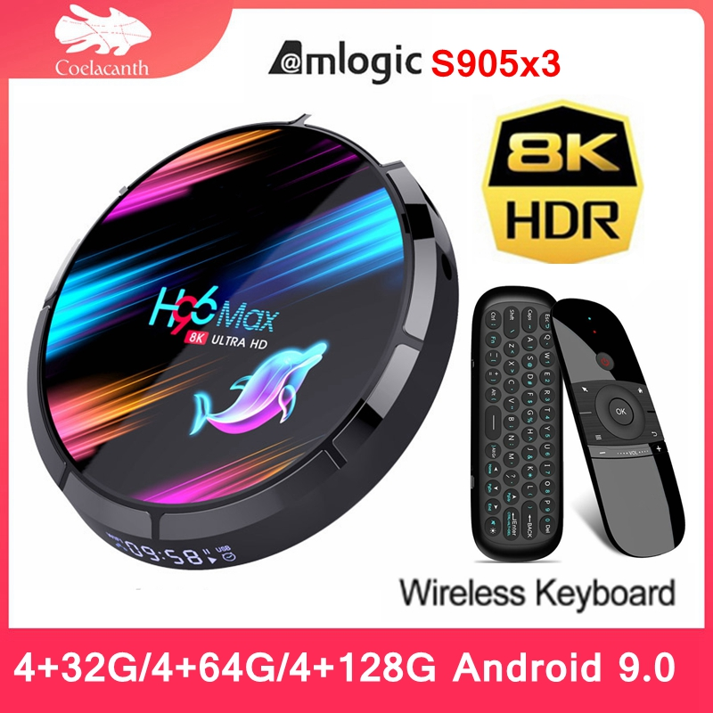 H96 Max x3 tv box Penta-Core Mali-450 GPU Amlogic S905X3 4G DDR3 BT4.0 Android 9 8K HD Quad Core 5G Dual Wifi android tv box