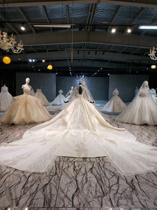 Image 2 - HTL1258 2020 חתונה שמלת boho גבוהה צוואר ארוך שרוול נצנצים ואגלי קריסטל תחרה עד בחזרה כלה שמלות suknia ślubna boho חדש