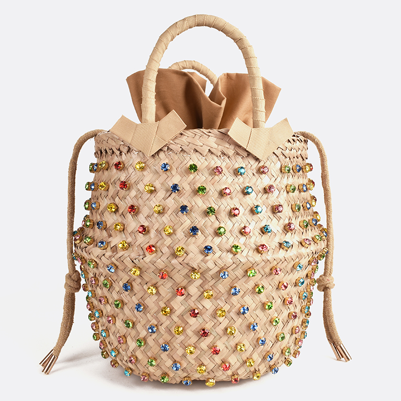 Straw-Bag Bucket Embellished Hot-Handbags Woven Pearl Designer Summer Ladies with Holiday