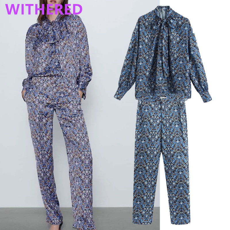 Withered England High Street Printing Bow Collar Blouse Women Blusas High Waist Regular Straight Harem Pants Women 2 Pieces Set