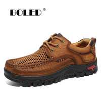 Natural Leather Men Flats Shoes Business Casual Shoes Official Loafers Soft Moccasins Handmade Lace Up Driving Men Shoes