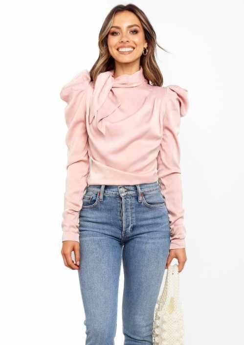 2019 אופנה נשים סאטן חולצות קשת צוואר ארוך שרוול חולצה אלגנטית משרד ליידי חולצות נקבה Blusas S-XL