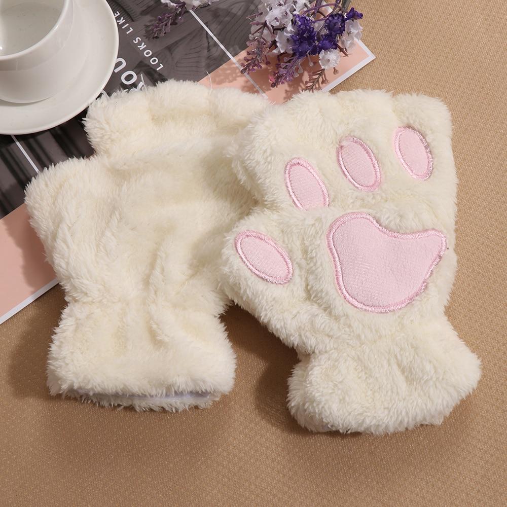 1Pair Warm Women Girls Winter Fingerless Gloves Cute Fluffy Bear Cat Plush Paw Claw Half Finger Glove Mitten