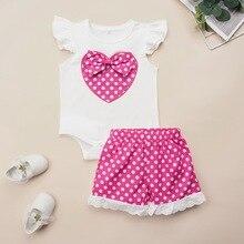 Heart-shaped Girls Clothes Kids Clothes Set 2Pcs Summer Sleeveless Tops+Polka Dot Pant Crew Neck Baby Girl Clothes 0-2 Years D35 kids heart polka dot tee