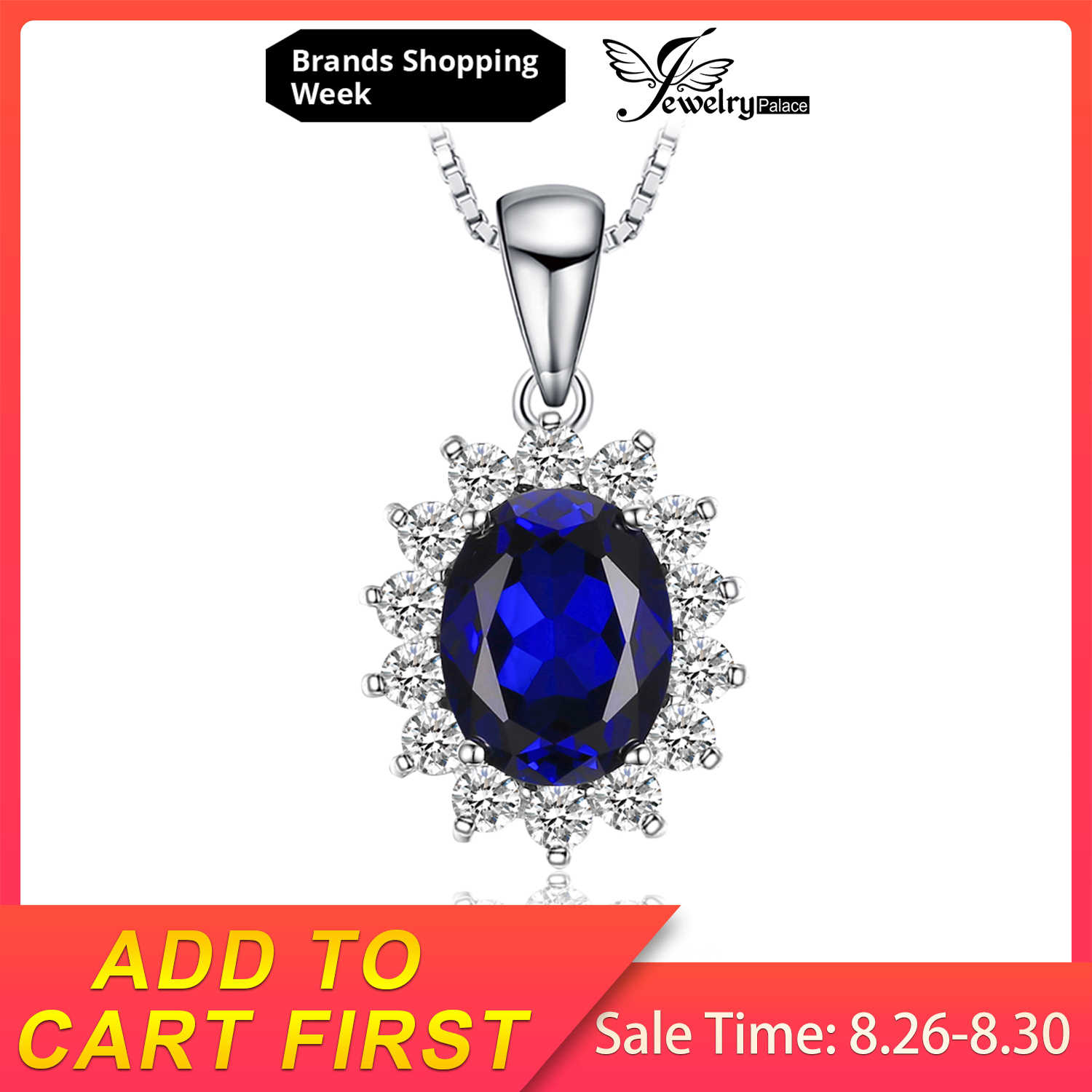 JewelryPalace Created Blue Sapphire Princess Diana Crown Halo 925 Sterling Silver Pendant Necklace Women Jewelry Without a Chain