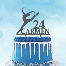 Персонализированные балерина торт Топпер пользовательское имя возраст балетные костюмы для танцев силуэты для День рождения гимнаст и гим...