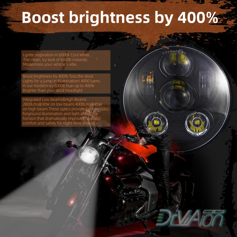 "Motorcycle LED Headlight High Quality  Black 5-3/4"" 5.75 LED Headlight High Low for Motorcycle LED Projection Headlight New"