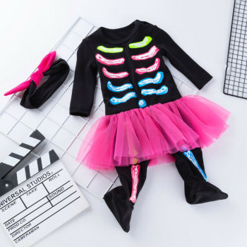 Baby Girl Halloween Costume Jumpsuit Headband Ruffles Mini Dress