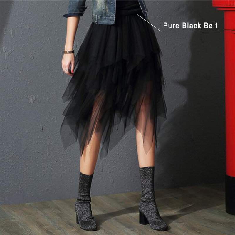 2019 Fashion Elastic High Waist Mesh Tutu Maxi Pleated Long Midi Saias Jupe Women's Skirt Tulle Skirts Womens Faldas Mujer Moda