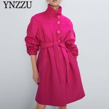 2019 Winter Rose red Women High belt neck coat Long sleeve Single breasted Female Outwear Loose Elegant jackets YNZZU 9O005