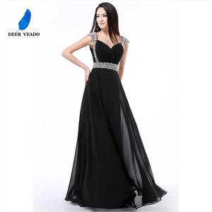 Image 1 - DEERVEADO A Line Cap Sleeve Sweetheart Chiffon Plus Size Long Evening Dress Gown Elegant Formal Dresses Robe De Soiree S321