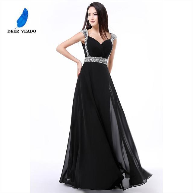 DEERVEADO A Line Cap Sleeve Sweetheart Chiffon Plus Size Long Evening Dress Gown Elegant Formal Dresses Robe De Soiree S321