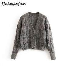 Miguofan winter sweater women Casual V Neck Fashion Elegant
