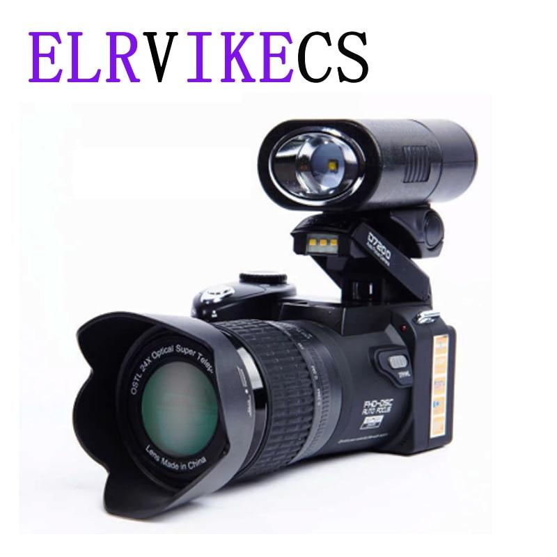 Цифровая камера ELRVIKECS 2021 HD POLO D7200 33 миллиона пикселей, автофокус, профессиональная однообъективная зеркальная видеокамера 24X, оптический зум...