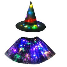 Costume Party-Clothes Skirt Tutu Led Glow Birthday-Gift Halloween Witch-Hat Wizard Cobweb