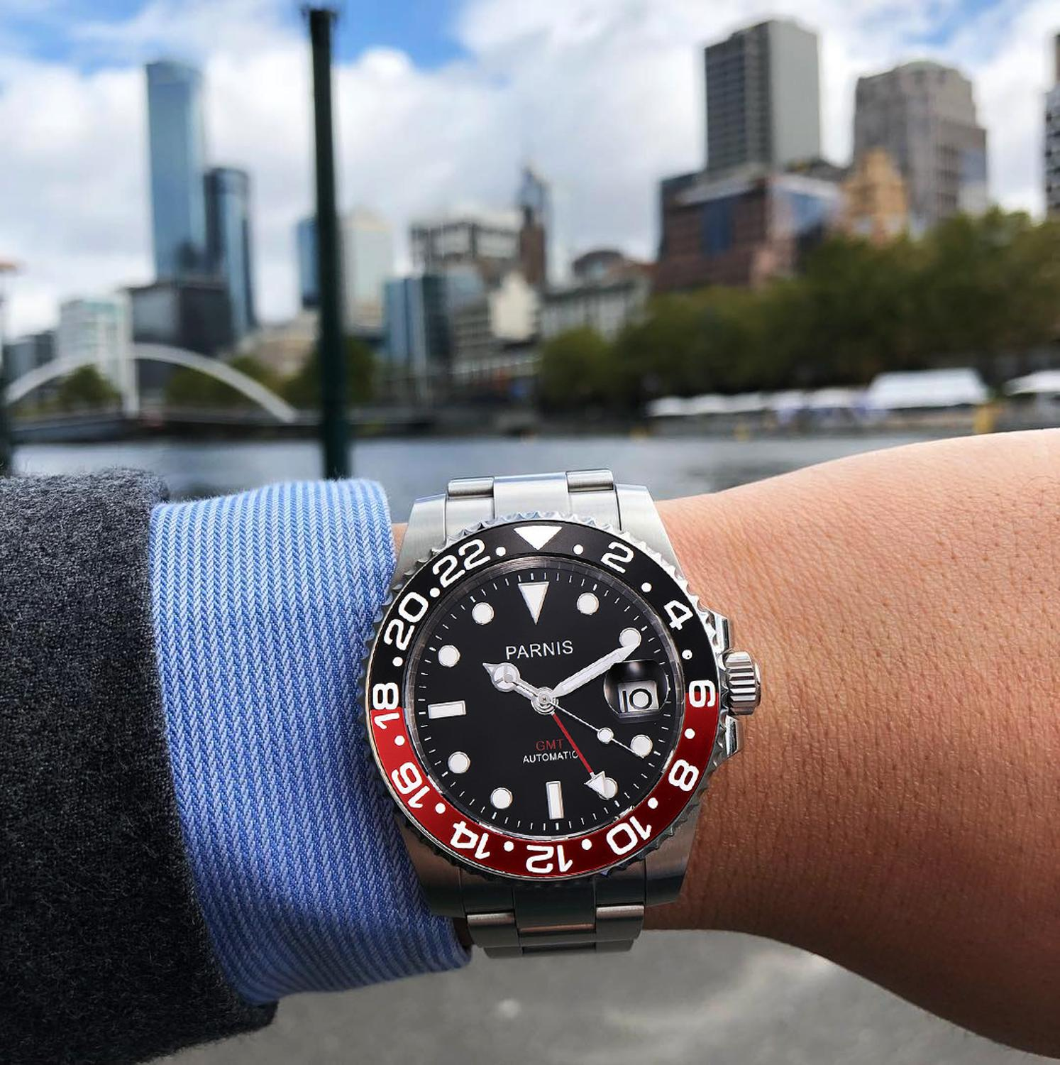 Parnis 40mm Mechanical Automatic Men Watches Stainless Steel Bracelet Sapphire Crystal Diver Men's Watch jam tangan pria 2019