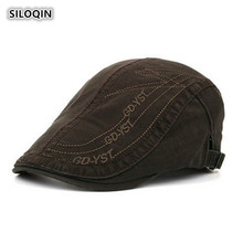 SILOQIN Spring And Autumn High Quality Cotton Mens Berets Snapback Adjustable Size Leisure Artist Painter Retro Sunshade