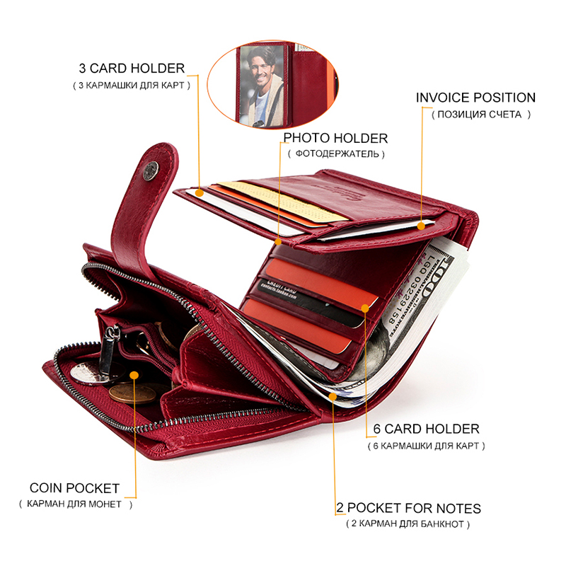 Contact's Genuine Leather Wallets Women Men Wallet Short Designer Small Rfid Card Holder Wallets Red Coin Purse Portfel Couple
