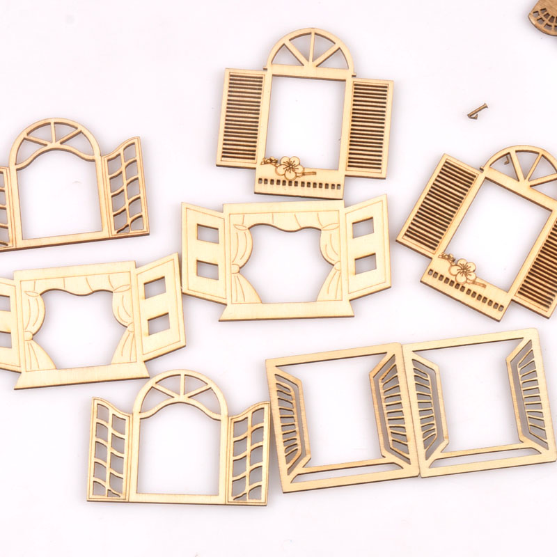 60-80mm Hollow Window Pattern Wood Slices DIY Crafts Scrapbook For Wooden Home Decoration Handicrafts Ornaments 4Pcs M2560