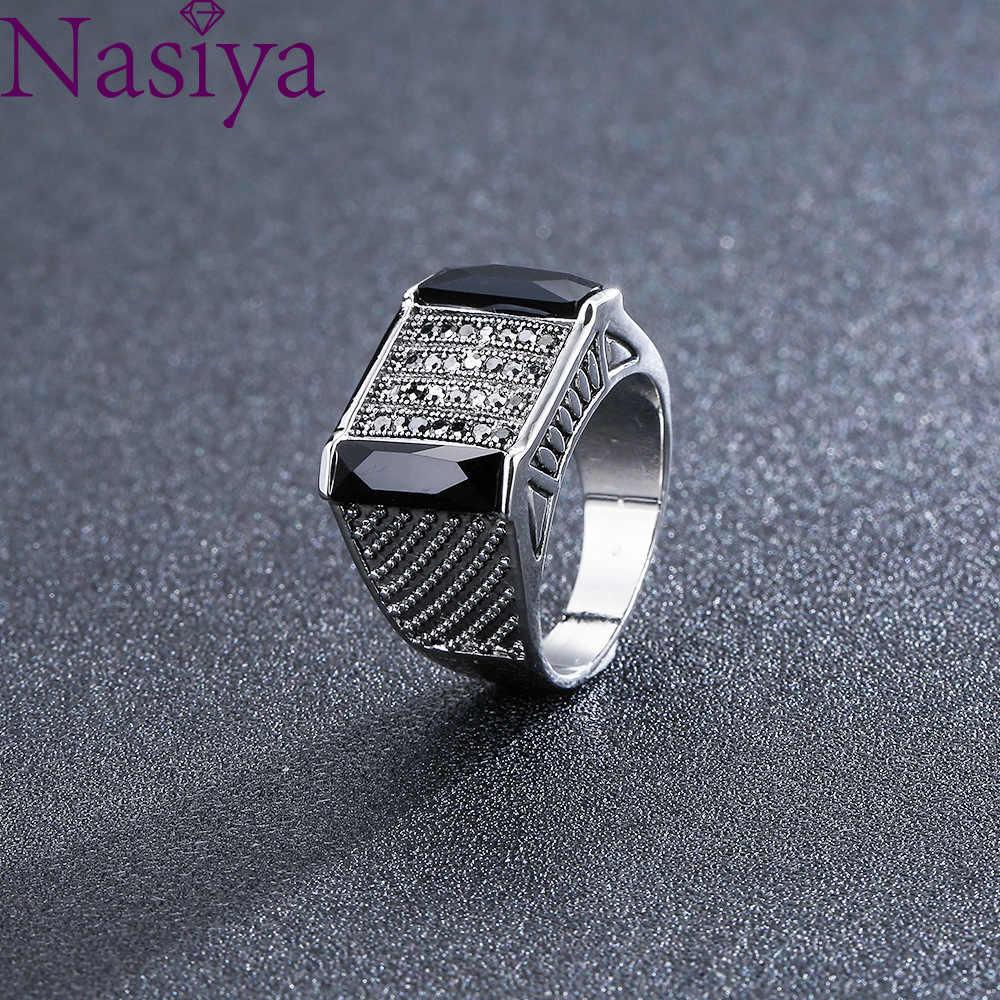 แหวนผู้ชายแฟชั่นพลอยสีดำแหวนหินอัญมณี Retro เครื่องประดับขายส่งของขวัญวันวาเลนไทน์