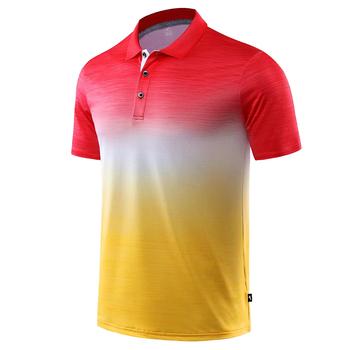 2019 nowych mężczyzna koszule golfowe czerwony żółty Quick-Dry Sport szkolenia z krótkim rękawem odzież sportowa kobiet golf odzież ropa de golf t shirt tanie i dobre opinie JUNJIAN COTTON Poliester Pasuje prawda na wymiar weź swój normalny rozmiar Anty-pilling Anti-shrink Szybkie suche Oddychające