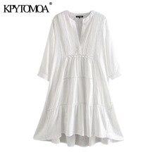 KPYTOMOA Women 2020 Chic Fashion Embroidery Patchwork Loose Dress Vintage V Neck