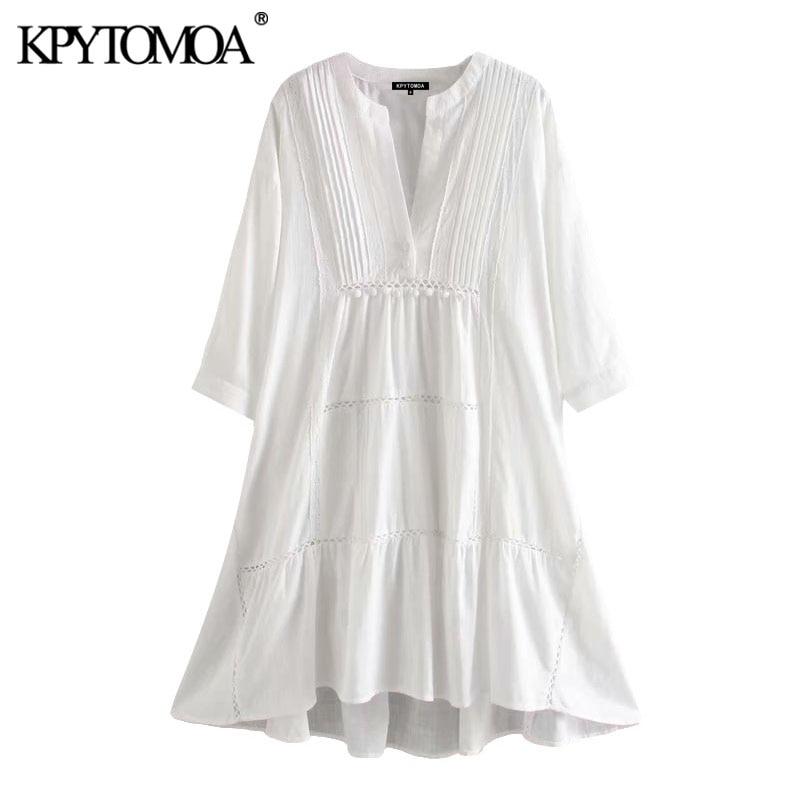KPYTOMOA Women 2020 Chic Fashion Embroidery Patchwork Loose Dress Vintage V Neck Three Quarter Sleeve Female Dresses Vestidos