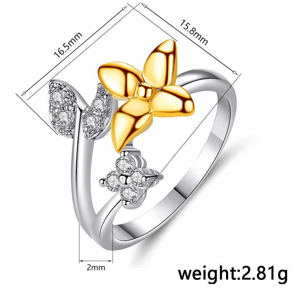 Minimalist หญิงผีเสื้อสัตว์แหวน Retro ทองเงินสีงานแต่งงานแหวนแฟชั่นสีขาวสำหรับแหวนผู้หญิง