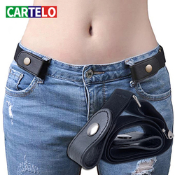 CARTELO buckle-free belt dress ladies slim sports trend jeans women's punk style comfortable elastic new no buckle belt