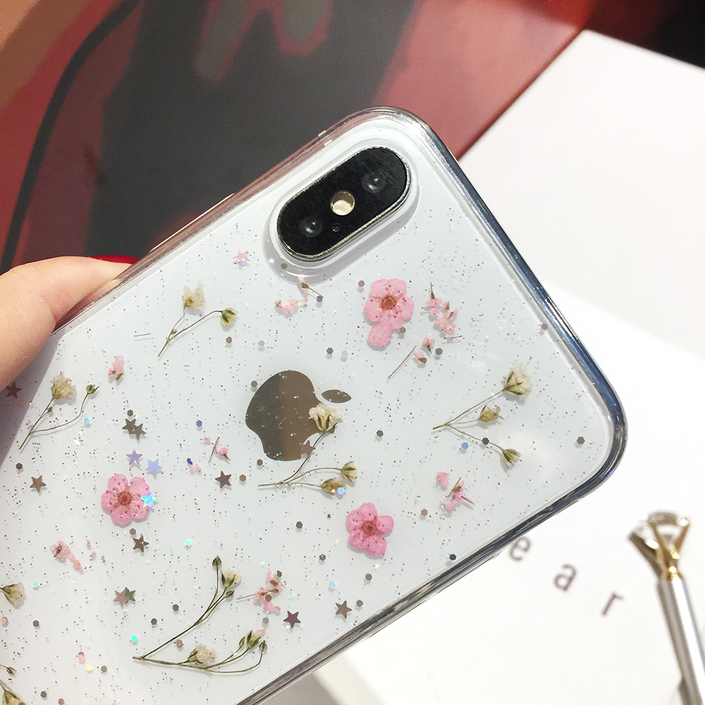 Qianliyao Real Dried Flowers Transparent Soft Cover For iPhone X 6 6S 7 8 Plus 11 Pro Max Phone Case For iphone XR XS Max Cover 6