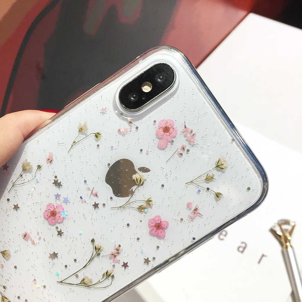 Qianliyao настоящие сушеные цветы прозрачный мягкий чехол для iPhone X 6 6S 7 8 Plus 11 Pro Max чехол для телефона для iphone XR XS Max чехол
