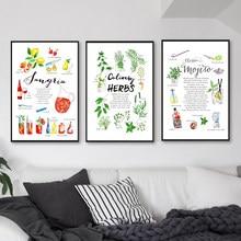 Ervas culinárias gin mojito pintura em tela martini tônico sangria posters impressão citações passos cozinha bar parede fotos decoração