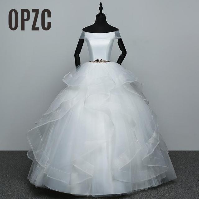 Real Photo White Fashion Classic Vestido De Noiva 2020 New Hot Sale Korean style Elegant Princess Sweetheart Lace Up with Sashe