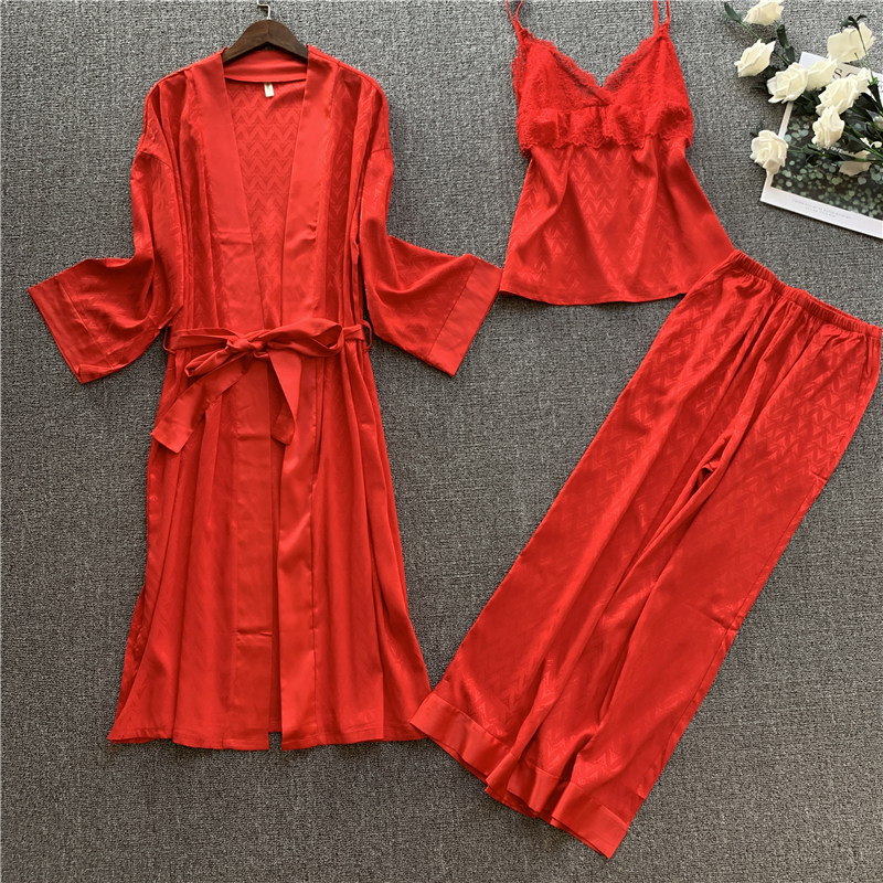 Spring Summer Silk Jacquard Pajama Three-Piece Set Ladies High End Dressing Gown Long Sleeved Silk Homewear Bright Red Пижам