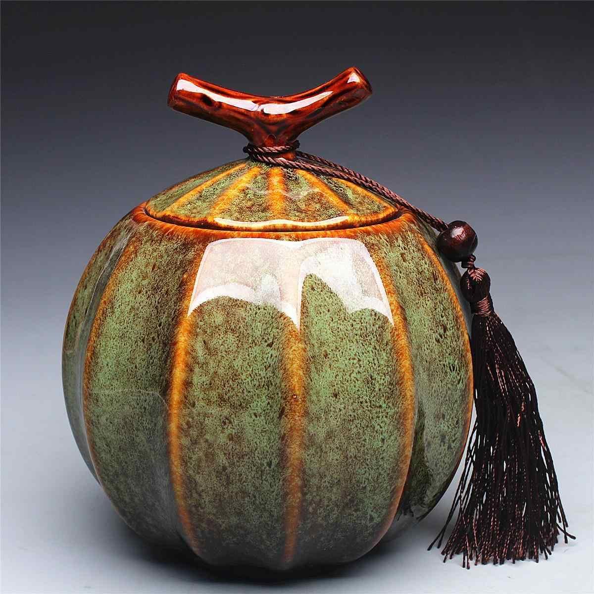 اليقطين نمط الشاي جرة شاي سيراميك برميل الشاي الأسود مختومة خزان خزان بوير Teacaddy 5 اللون اختياري Onsale
