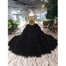 BGW 3222ht Black Evening Dress Long For Women O neck V back Golden Lace Cake Style Formal Dress With Detachable Train 2020