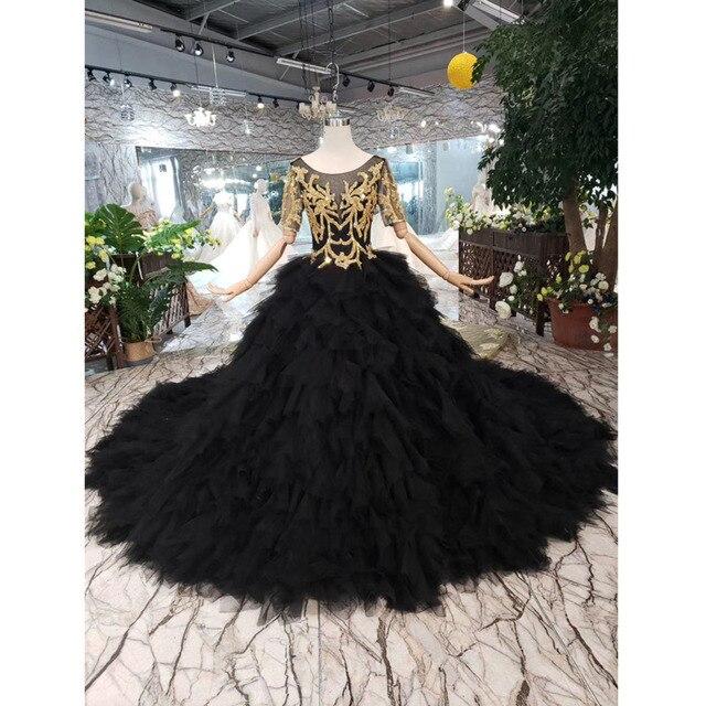 BGW 3222ht Черное вечернее платье длинное для женщин с круглым вырезом и v образным вырезом сзади Золотое кружевное нарядное платье со съемным шлейфом 2020