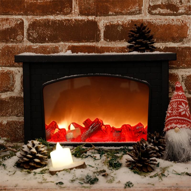 Christmas Simulation Fireplace LED Lamp Xmas Decoration Light Flame Lamparas Festival Creative Night Light Home Decor Xmas Gifts