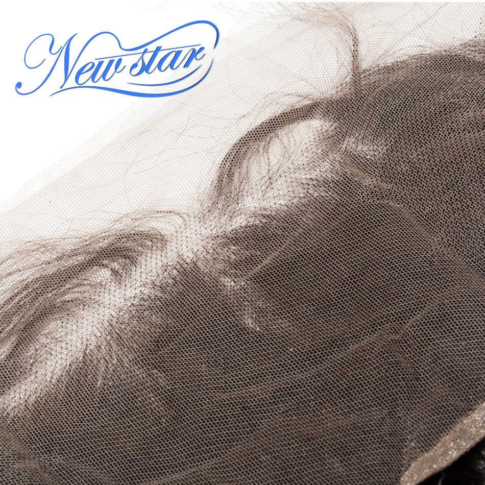 Nueva estrella brasileña onda profunda 3 paquetes de extensión de cabello con un oído A oreja encaje Frontal cierres 100% virgen humano pelo que teje