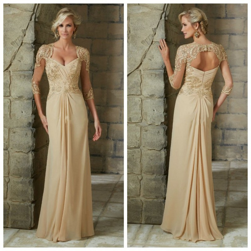 2016 A Line 3/4 Sleeve Mother Of The Bride Dresses Appliques Lace Chiffon Long Formal Women Gowns Backless Godmother Dresses