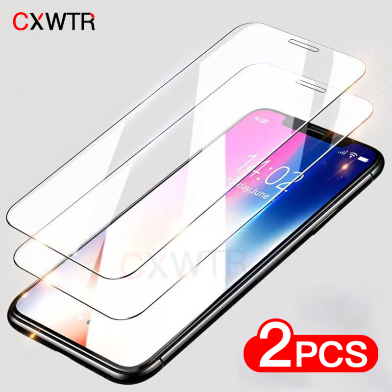 2pcs 9H Tempered Glass on the For iPhone 8 7 6 6S Plus 5 5S SE Screen Protector For iPhone11 Pro Max X XR XS Max Protective Flim