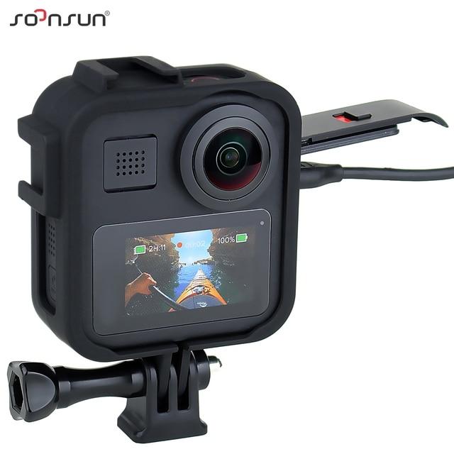 "SOONSUN 표준 보호 프레임 케이스 하우징 케이스 쉘 커버 (GoPro Max Go Pro 액세서리 용 1/4 ""삼각대 장착 어댑터 포함)"