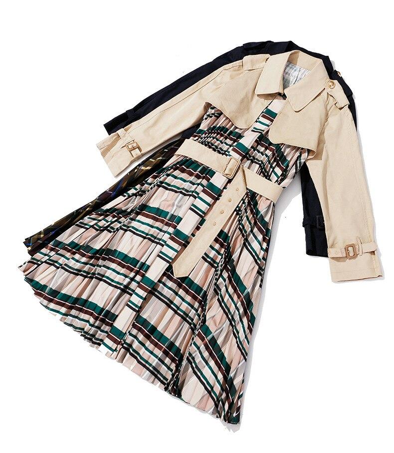 [EAM] Women Belt Pleated Hit Color Trench New Lapel Long Sleeve Loose Fit Windbreaker Fashion Tide Autumn Winter 19 1B096 29